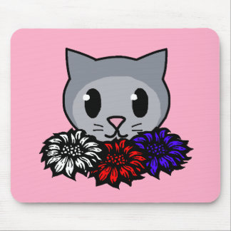 Kitty Flowers for Kids Mousepad