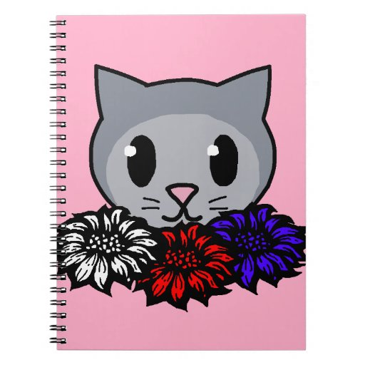 Kitty & Flowers for Kids Spiral Notebook