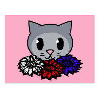 Kitty & Flowers for Kids Postcard