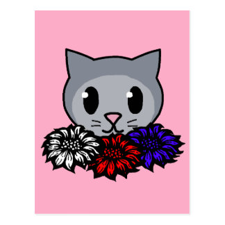 Kitty Flowers for Kids Post Card