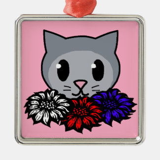 Kitty & Flowers for Kids Silver-Colored Square Decoration