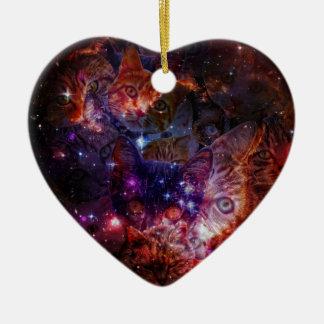Kitty Galaxy Ceramic Heart Decoration