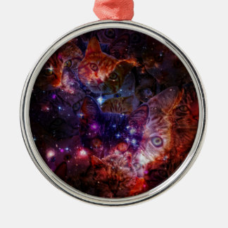 Kitty Galaxy Silver-Colored Round Decoration