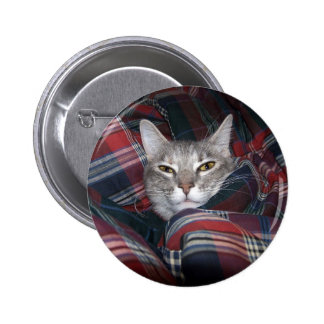 Kitty gets cozy. 6 cm round badge