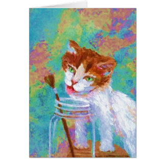 Kitty Getting My Paintbrush Greeting Card