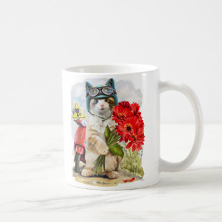 Kitty holding a bouquet of red flowers coffee mug