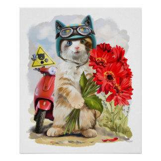 Kitty holding a bouquet of red flowers poster