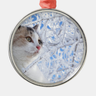 Kitty Ice Queen Silver-Colored Round Decoration