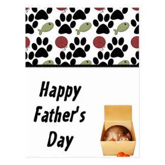 Kitty in a Box - Funny Happy Father s Day Postcard