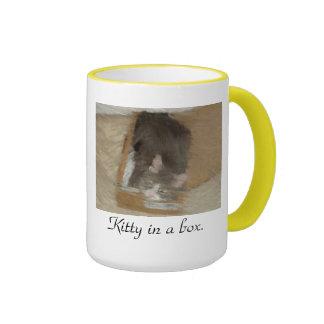 Kitty in a box. ringer mug