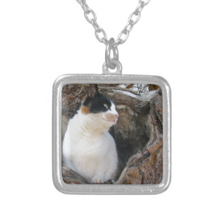 Kitty in a Tree Hollow Silver Plated Necklace