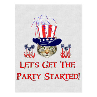 Kitty Independence Day Postcard