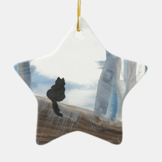 Kitty On A Misty Morning Ceramic Ornament