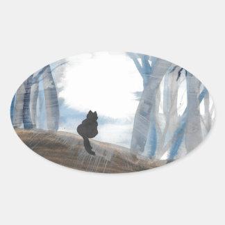 Kitty On A Misty Morning Oval Sticker