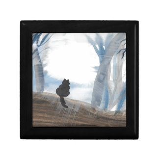 Kitty On A Misty Morning Small Square Gift Box