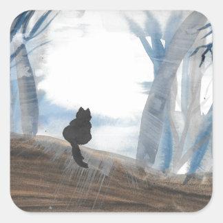 Kitty On A Misty Morning Square Sticker