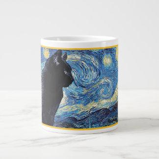 Kitty on Lookout: Starry Night Large Coffee Mug