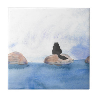 Kitty On Stepping Stones Small Square Tile