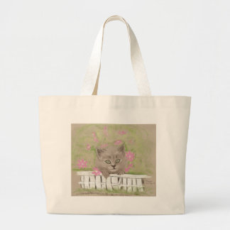 KITTY ON THE FENCE TOTE BAG