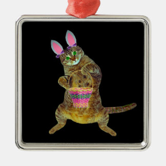 Kitty plays the Easter Bunny Silver-Colored Square Decoration
