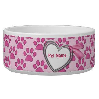 Kitty Prints Pink Cat Dish - Customize Dog Water Bowl
