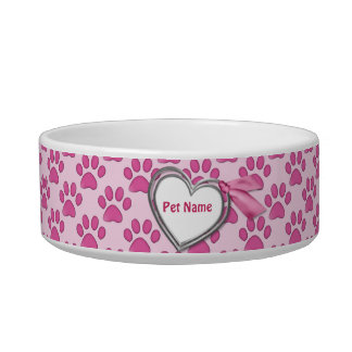 Kitty Prints Pink Cat Dish - Customize Cat Water Bowl
