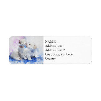Kitty & Puppy Love | Abstract | Watercolor Return Address Label