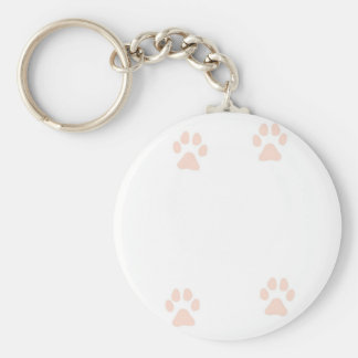 Kitty Pussy Cat Paw Prints Basic Round Button Key Ring