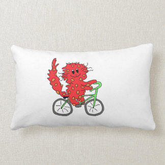 Kitty riding a bicycle pillow