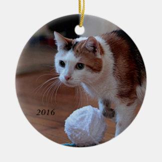 Kitty Round Ceramic Decoration