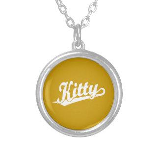 Kitty Script Logo in white Custom Necklace