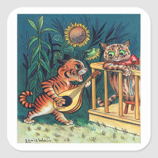 Kitty Serenade by Louis Wain Square Sticker
