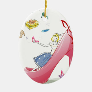 Kitty Shoe Lady Ceramic Oval Decoration