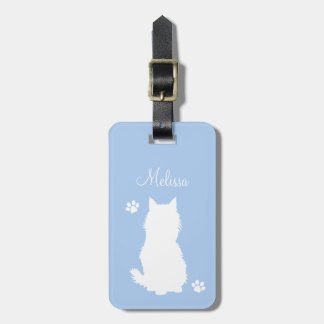 Kitty Silhouette and Paws on Teal Luggage Tag