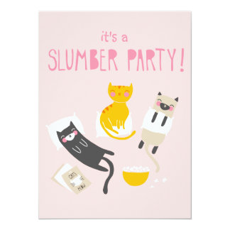 Kitty Slumber Party Invitation