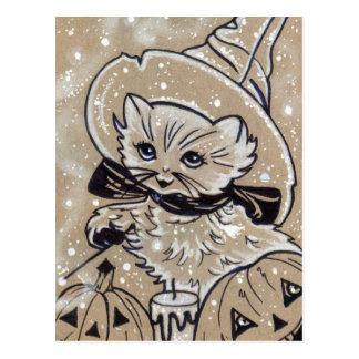 Kitty Spells cute kitten witch halloween postcard
