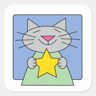 Kitty Star Square Sticker