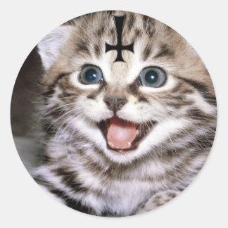 kitty round sticker