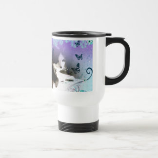 kitty surrounded by blue flowers travel mug