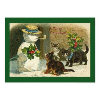 Kitty Trio and Snowman 11 Cm X 16 Cm Invitation Card