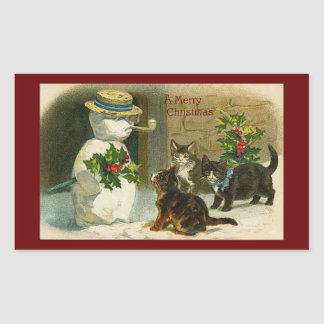 Kitty Trio with Snowman and Holly Rectangular Sticker