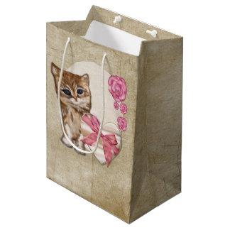 Kitty Valentine Victorian Mixed Media MEDIUM Medium Gift Bag