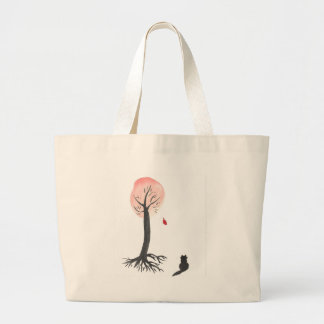Kitty Watches the Falling Leaf Large Tote Bag
