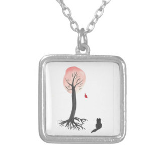 Kitty Watches the Falling Leaf Silver Plated Necklace