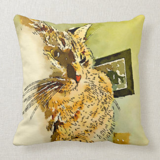 Kitty Whiskers Heart Nose Watercolor Cushion