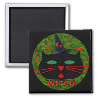 Kitty Witch Square Magnet