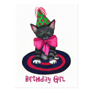 Kitty With Pink Bow: Birthday Girl: Color Pencil Postcards