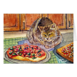 Kitty with Pizza Note Card