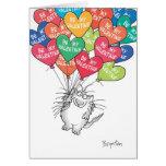 KITTY WTH HEART BALLOONS Valentines by Boynton Greeting Card