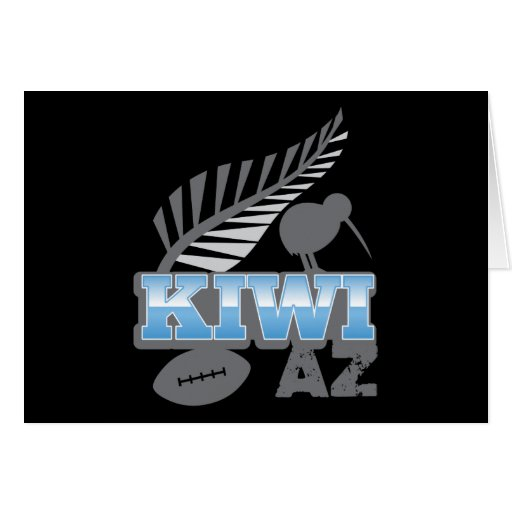 KIWI AZ rugby bird and silver fern New Zealand Greeting Cards